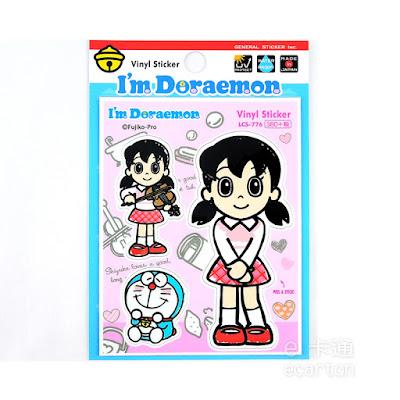 日本製哆啦a夢卡通人物靜香防水貼紙標籤文具