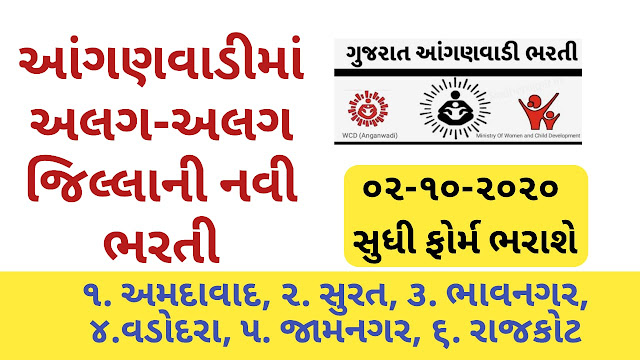 Gujarat Anganwadi Recruitment 2020 Notification  Various District : e-hrms.gujarat.gov.in]