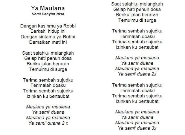 Teks Ya Maulana versi Nissa Sabyan