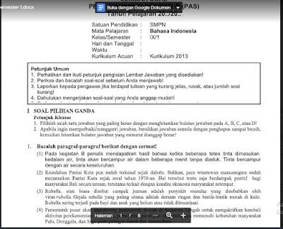 Soal PAS Bahasa Indonesia Kelas 9 Kurikulum 2013 SMP/MTs