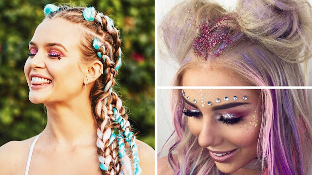 Braids and Glitter Accents for Coachella Hair Vibe