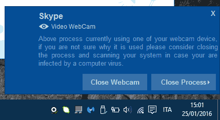 Who Stalks My Cam notifica webcam in uso
