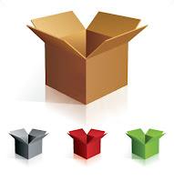 Ağzı açık renkli ve renksiz karton kutular