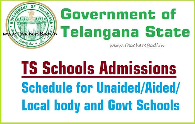 TS Schools Admissions,Schedule,application form,Unaided/Aided/Local body and Govt Schools