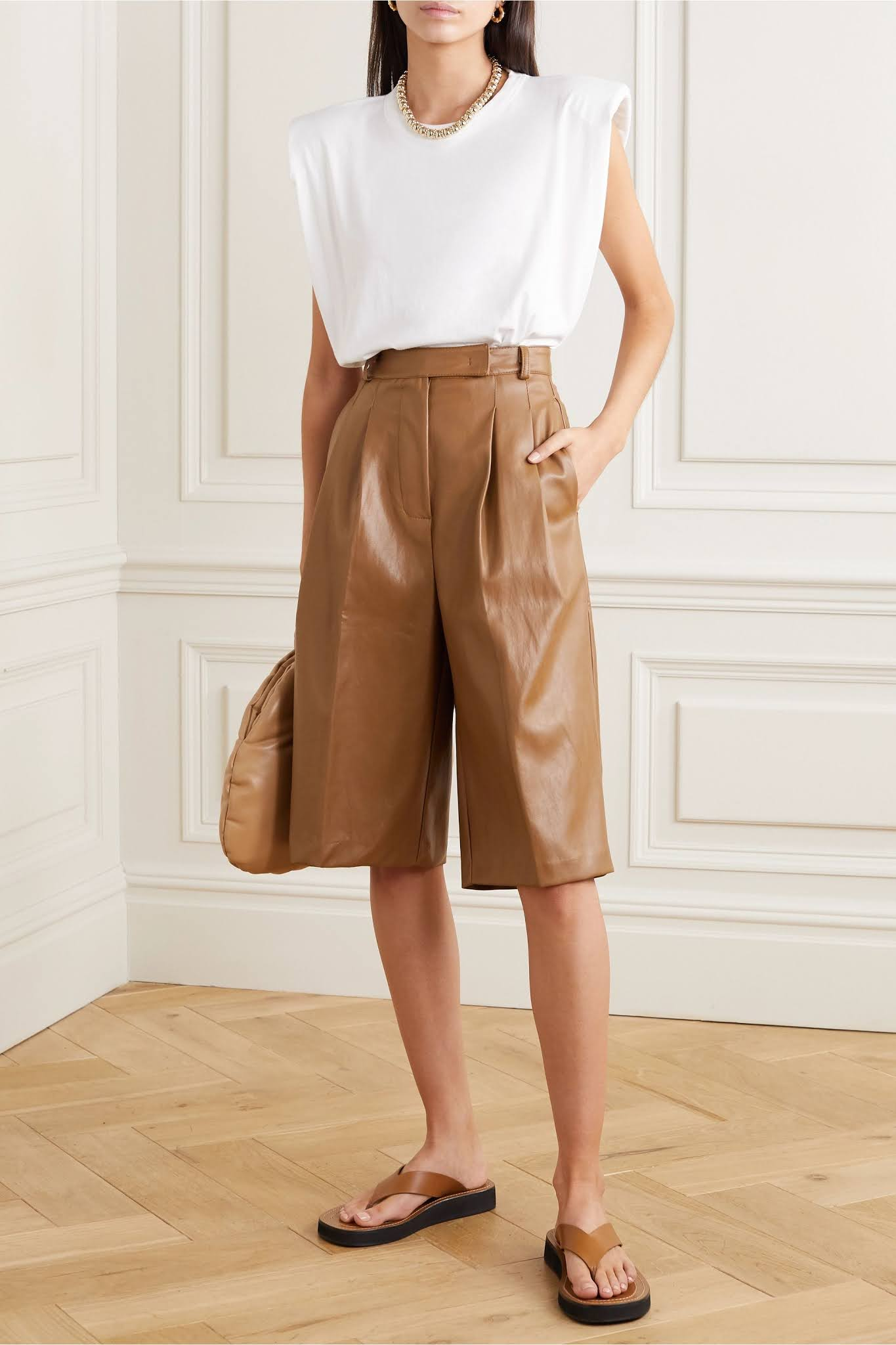 Leather Shorts Spring Outfit Idea
