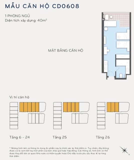 Thiết kế căn hộ điển hình Condotel Eastin Phát Linh