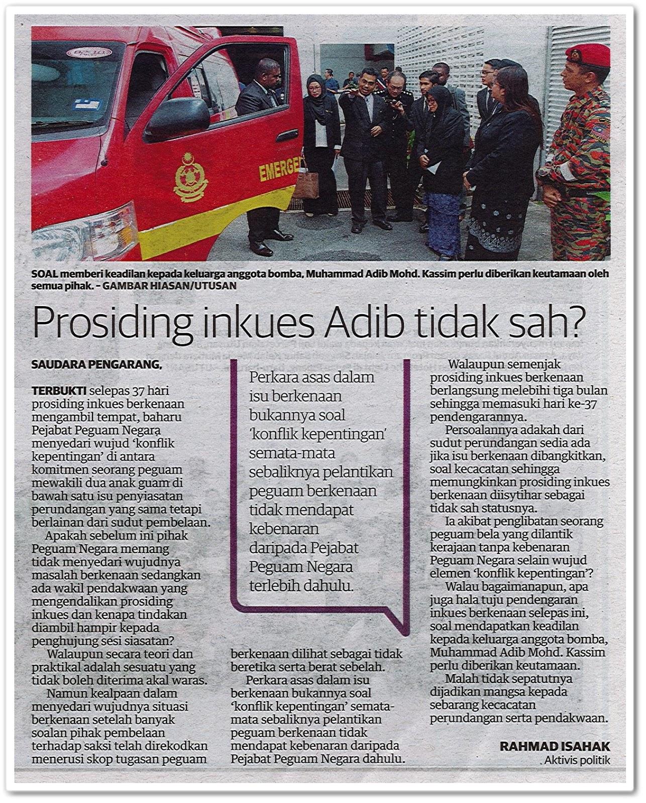 Prosiding inkues Adib tidak sah? - Keratan akhbar Utusan Malaysia 31 Mei 2019