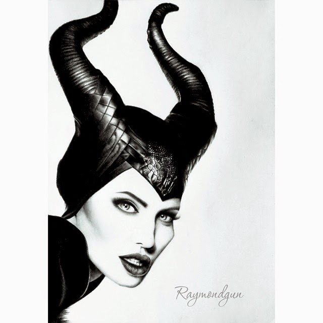 03-Angelina-Jolie-Maleficent-Raymond-Gunawan-Minimalist-Celebrity-Drawings-mostly-Black-and-White-www-designstack-co
