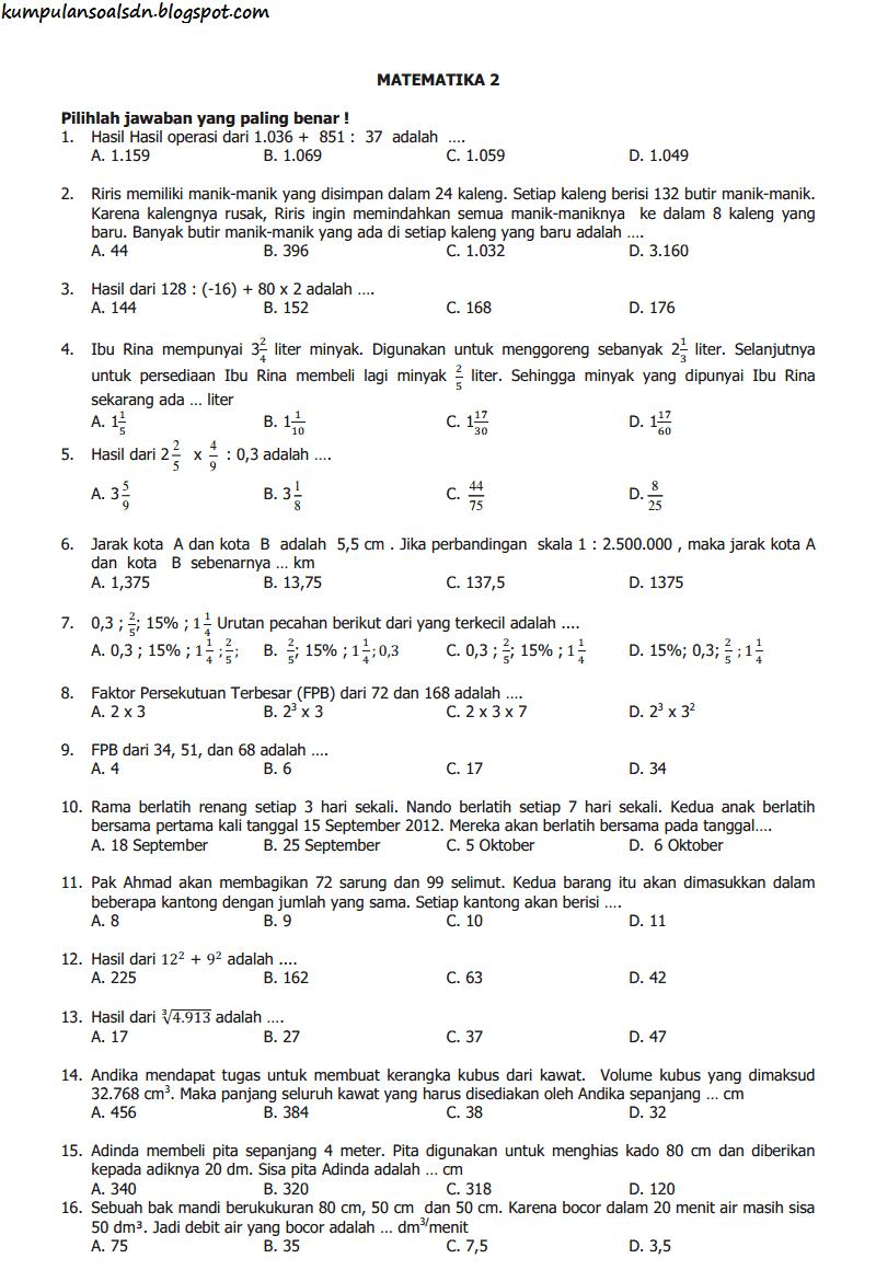 35 Latihan Soal Usbn Matematika Sd Mi Pembahasan Kunci Jawaban Paket B