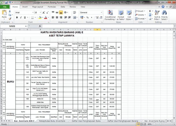 Contoh Laporan Inventaris Barang Format Microsoft Excel - KARTU INVENTARIS BARANG