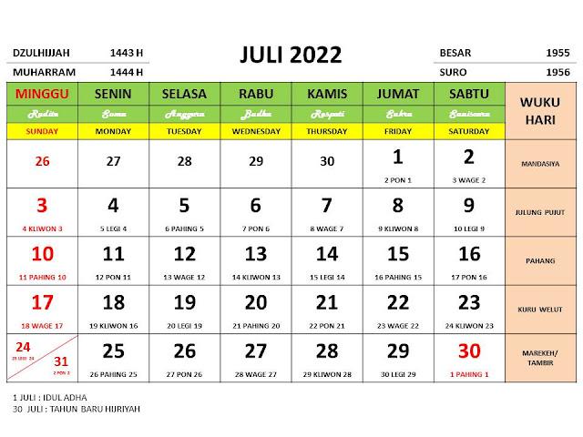 Kalender Bulan Juli 2022 dan Hari Peringatannya Lengkap