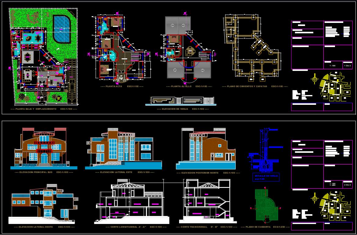 Modern Villa Plan Dwg