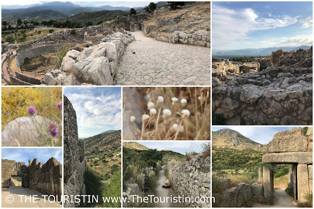 Views over the landscape and remains of Mycenae in Greece.