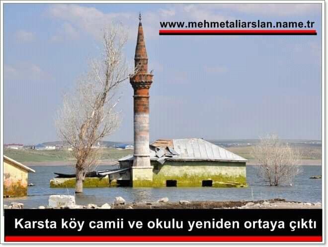 Kars susuz Çamçavuş köyü barajı geri çekildi