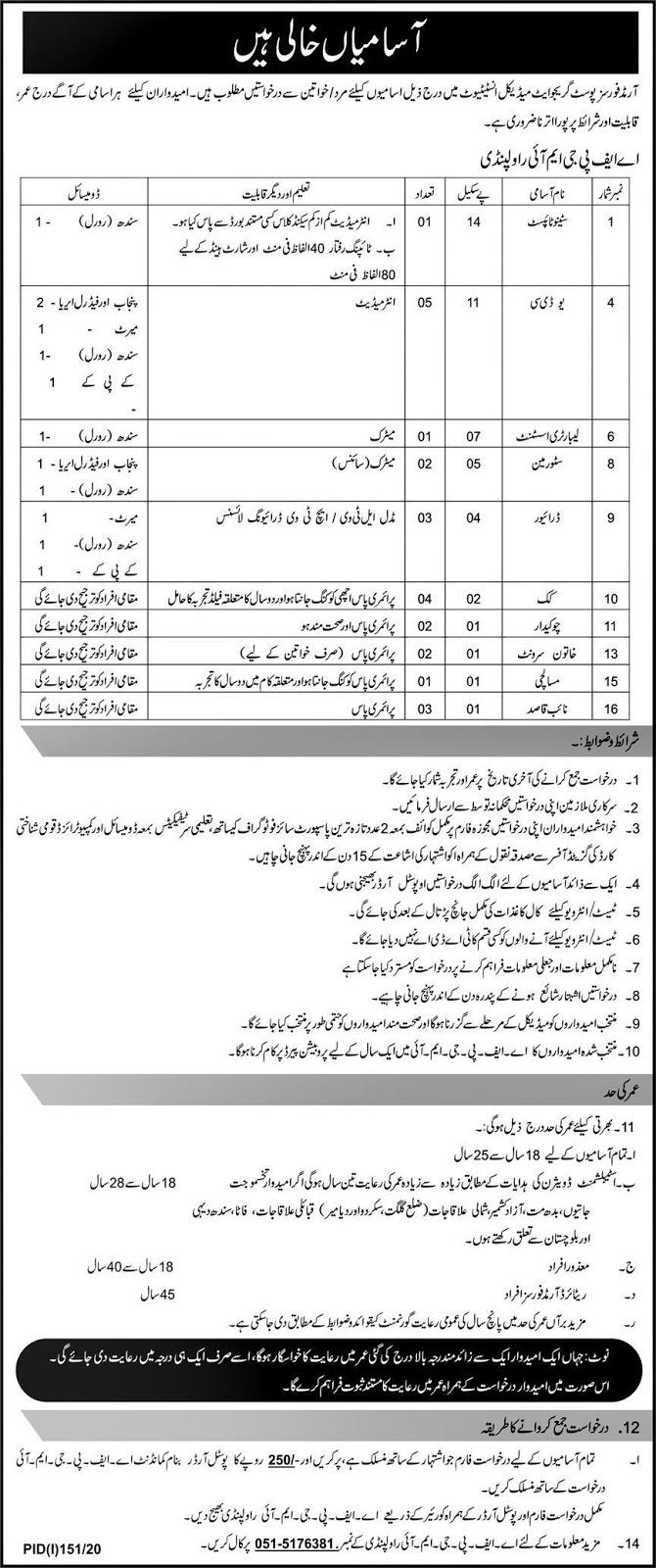 Armed Forces Post Graduate Medical Institute Rawalpindi Jobs
