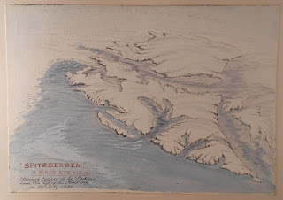 Watercolor of topographical map of Spitzbergen