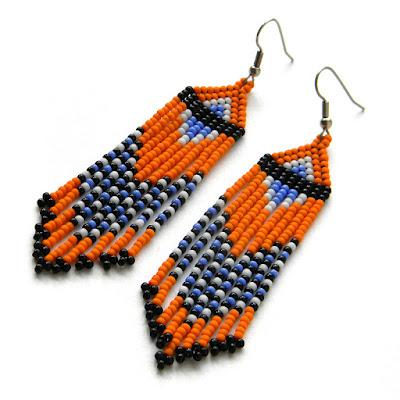 Яркие оранжевые серьги из бисера купить украшения из бисера анабель