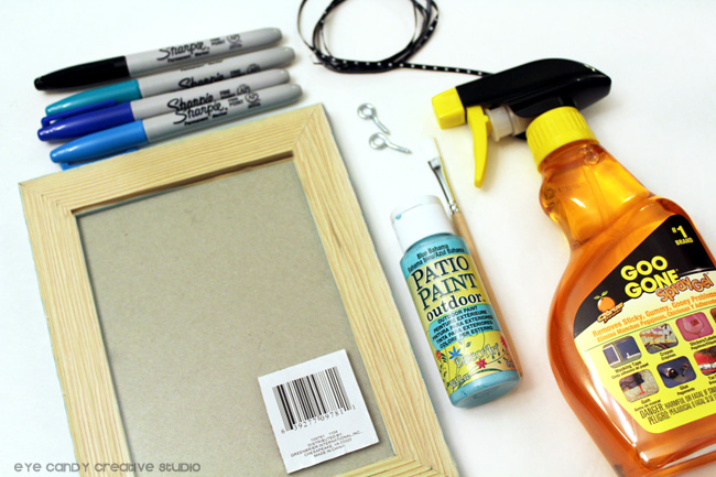 supplies for framed art DIY, Goo Gone, photo frame, markers, DecoArt paint