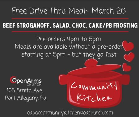 3-26 Free Drive Thru Meal At The Port Allegany Open Arms Church