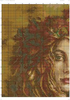 meraviglioso quadro rappresentatne l'autunno da ricamare a punto croce con questo schema gratuito