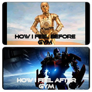 C3PO before the gym, Optimus Prime after the gym.