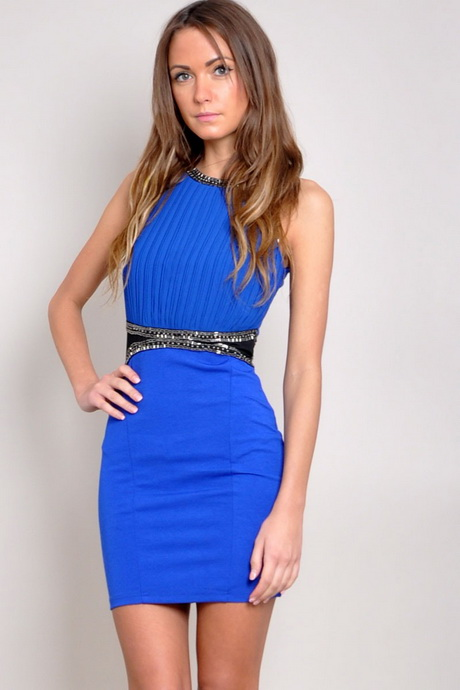 vestido de moda azul rey