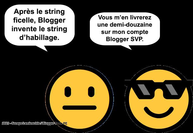 Blogger Humour - Blogger invente les strings d'habillage.
