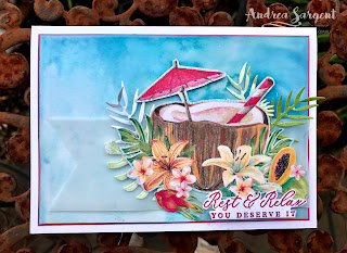2020, Andrea Sargent, Annual Catalogue, Art With Heart, AWHT, blog hop, Creative Showcase, Designer Series Paper, Mini Catalogue, Timeless Tropical, Tropical Oasis, vellum, Watercolour, Wink of Stella, Stampin Up, SU,  Tropical dies, Banner Triple punch,