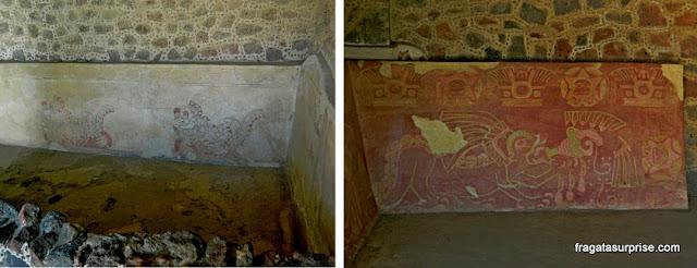 Pinturas murais no Palácio dos Jaguares de Teotihuacán