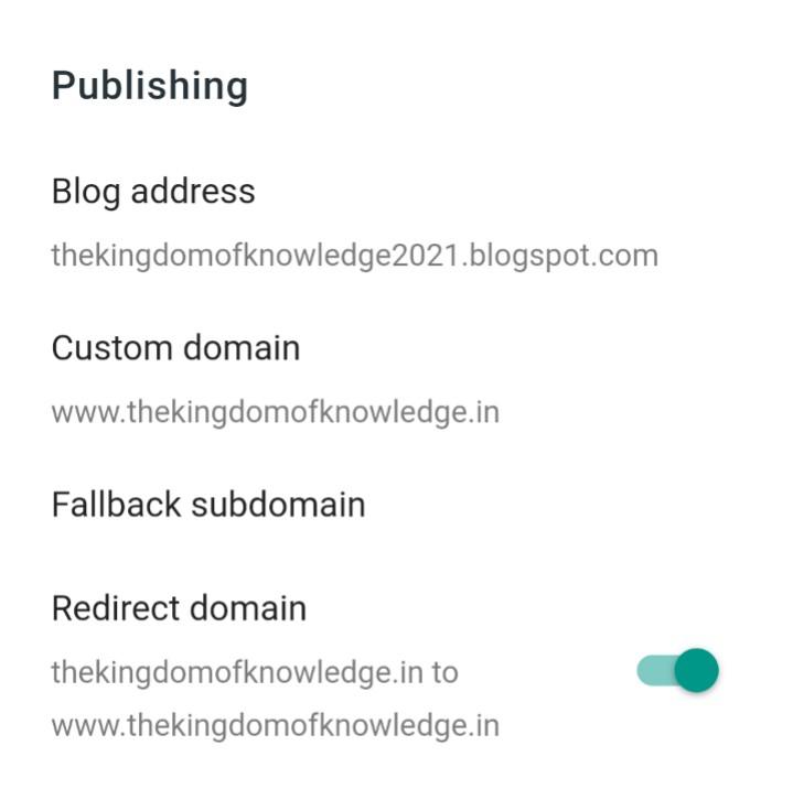 Blogger publishing settings