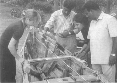 Measuring a logboat (McGrail, 2001:209)