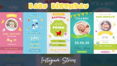 Projects – Motion Array – Baby Birthday Instagram Stories – 752814 [AEP]