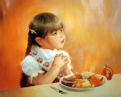 Crianca orando à mesa antes de alimentar-se. Pintura de Donald-Zolan. Definição da palavra Igreja sem termos teológicos. Eliseu Antonio Gomes. Blog Belverede