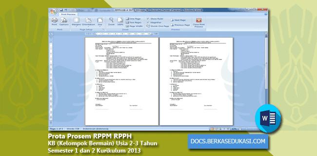 Prota Prosem RPPM RPPH KB (Kelompok Bermain) Usia 2-3 Tahun Semester 1 dan 2 Kurikulum 2013