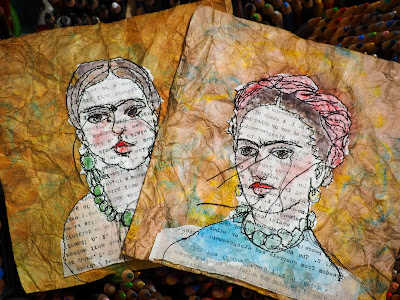 Frida Kahlo free motion stitching embroidery over vintage papers by Danita Art