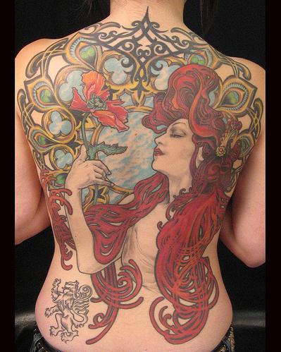 tattooz designs art nouveau tattoos for women art. Black Bedroom Furniture Sets. Home Design Ideas