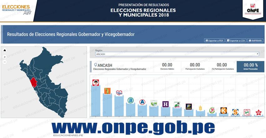 ONPE: Resultados Oficiales en ÁNCASH - Elecciones Regionales y Municipales 2018 (7 Octubre) www.onpe.gob.pe