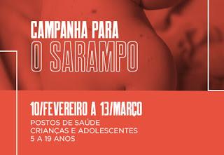 Campanha contra o Sarampo segue até 13 de março em Cajati