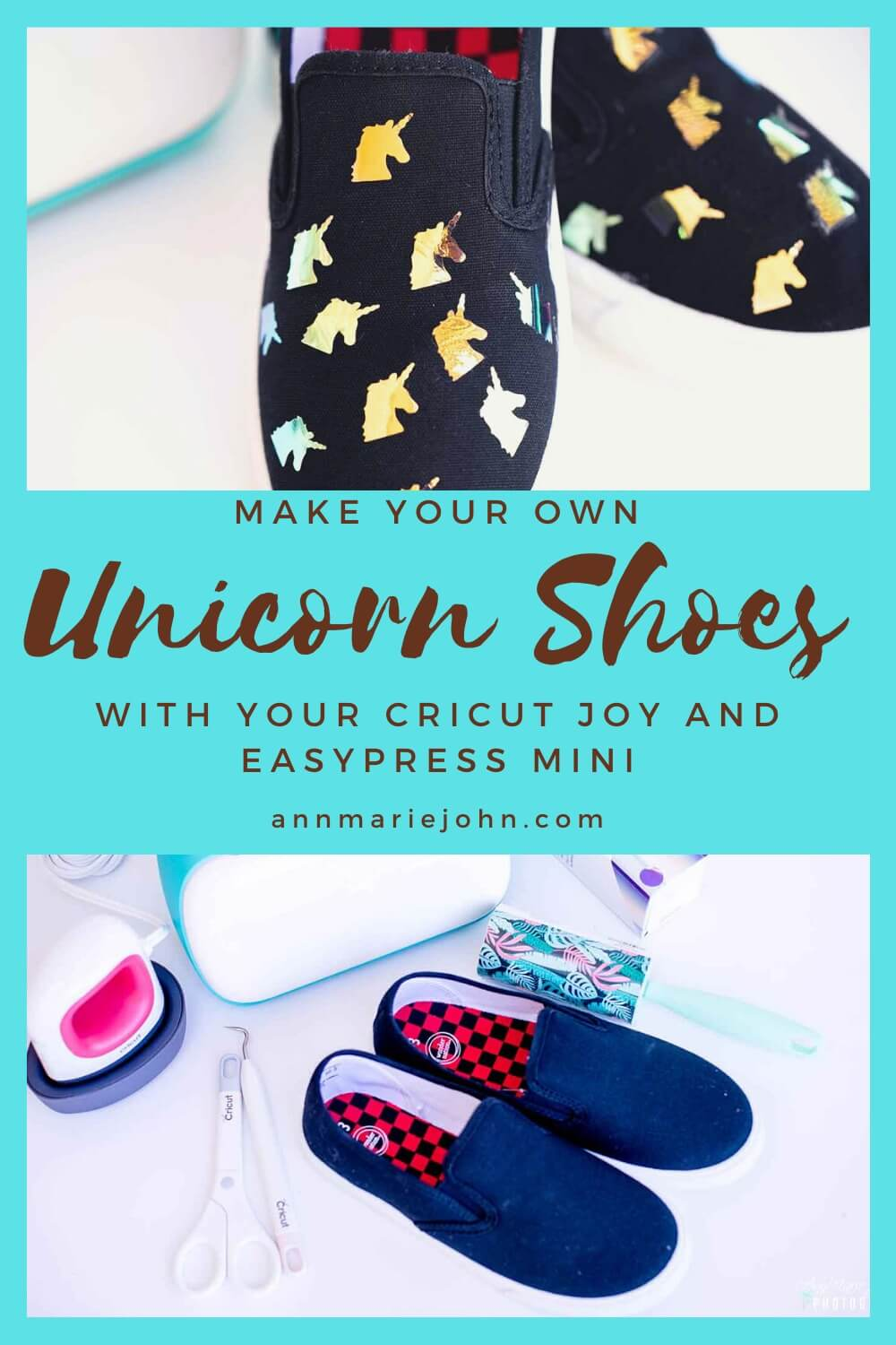 Unicorn Shoes with the Cricut Joy and EasyPress Mini.