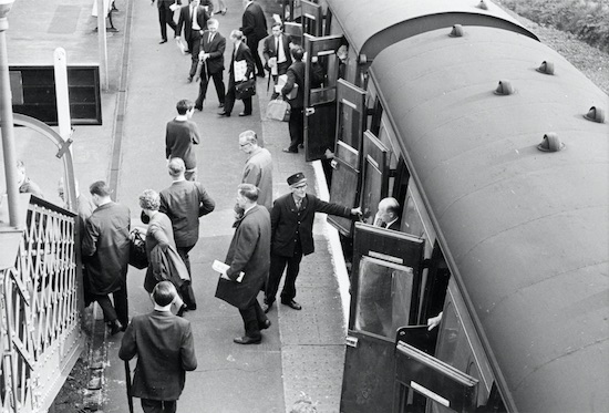 The evening commuter rush arriving at Brookmans Park station May 1969 Image by Ron Kingdon, part of the Images of North Mymms collection