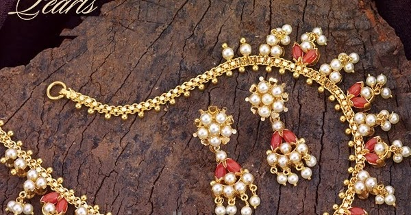 Reversible Coral Pearl Necklace Set In Gold Latest