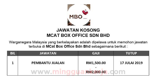 Pembantu Jualan - MCat Box Office Sdn Bhd