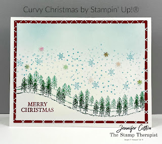 Curvy Christmas/Curvy Celebrations by Stampin' Up!® This Christmas card is simple with some sponging.  Click on the photo to go to the blog and see the video.  #StampinUp #StampTherapist
