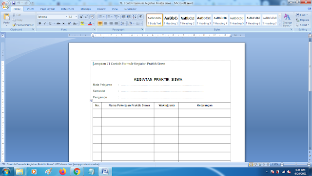 Contoh Formulir Kegiatan Praktik Siswa Terbaru