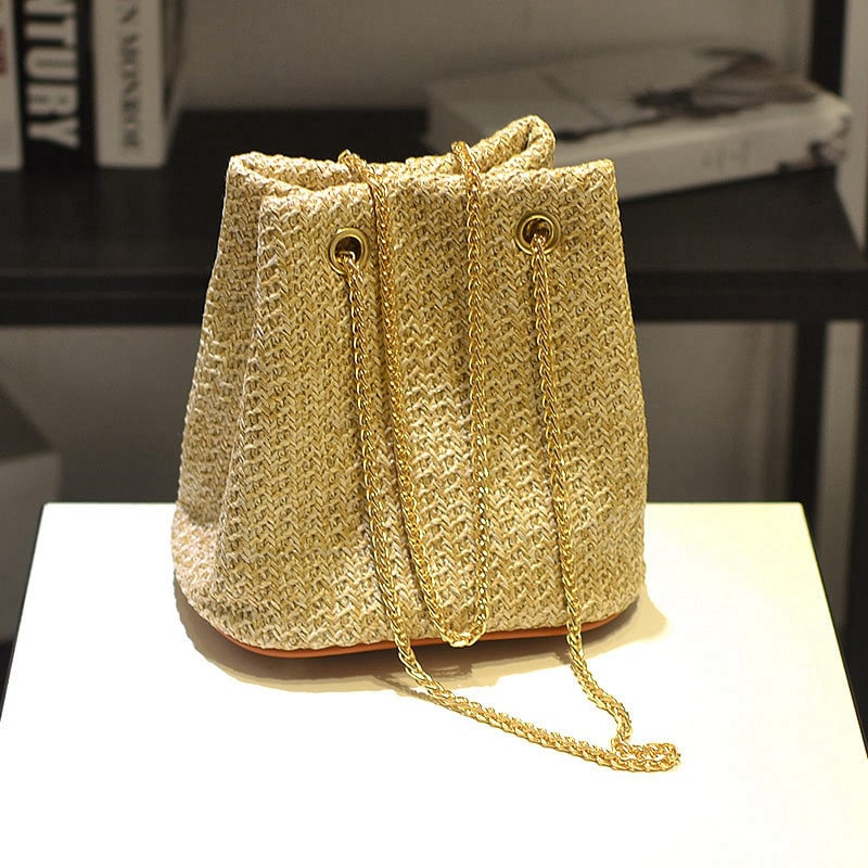 Women's Funky Straw Stripe Bucket Bag