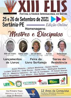 SAIU A PROGRAMAÇÃO DO XIII FLIS - FESTIVAL LITERÁRIO INTERNACIONAL DO SERTÃO (EDIÇÃO ON-LINE)