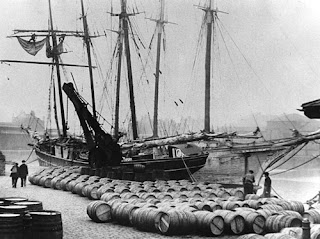 The story starts with a consignment of French wines unloaded at the docks in London