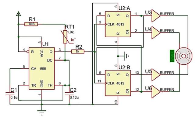 Implementasi sensor NTC dengan Motor Stepper