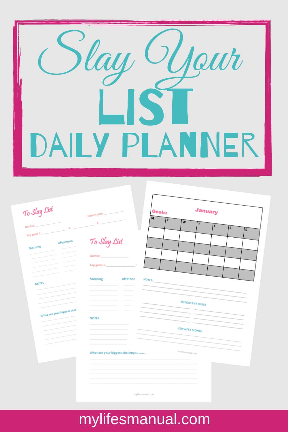 To slay List daily planner