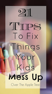 Kids can be rough on your house and your belongings. Here are 21 tips how to fix some common things your kids mess up! Over The Apple Tree